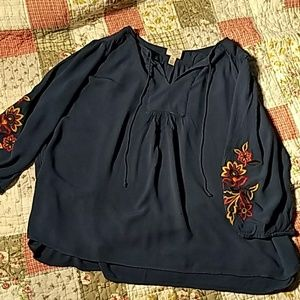 St. Johns Bay, blue, boho style blouse.